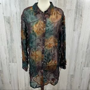 Chico's Women's Silk Embroidered Floral Blue Purple Button Down Tunic Blouse Top
